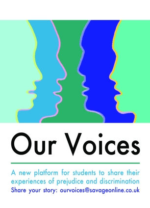 front of our voices flyer